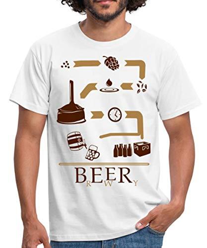 Bier Brauen Brewery Schaubild Brauerei Männer T-Shirt, XXL, Weiß