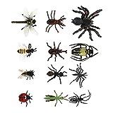 TOYANDONA 12 Piezas de Juguetes de Insectos Artificiales Modelos de Insectos de Halloween Truco de Broma Props Niños Juguetes de Educación Temprana de Insectos Juguetes ( Estilo Aleatorio )