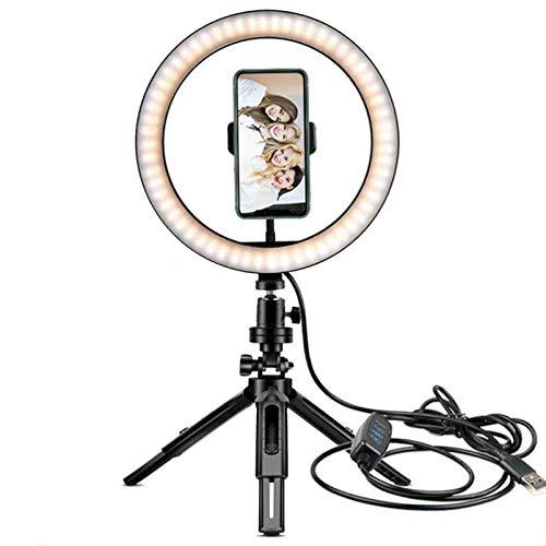 LYNNDRE Anillo De Luz, Anillo De Luz De 10.2'con Soporte para Teléfono Y Control Remoto, Luz De Anillo De Maquillaje De Escritorio Regulable para Video De Youtube Y Transmisión,10 Inch