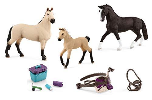 5in1-SET Schleich Pferde Horse Club - Hannoveraner Familie (2021 Modelle) + Sattel Zaumzeug und Pflegeset 13927 + 13928 + 13929 + 42165 + 42366
