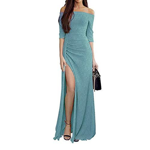 Zottom One-Shoulder-Tasche hip offenes Abendkleid Abendessen Frauen Schulterfrei Kleider High Split Maxi Lange Abendkleider
