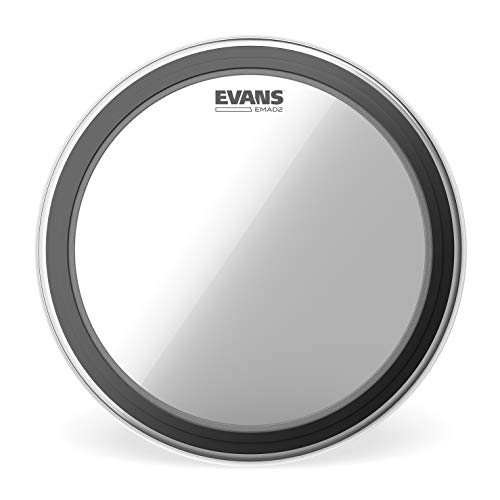 "Evans EMAD2 Clear Bass Drum Head, 24"" – Externally Mounted Adjustable Damping System Allows Player to Adjust Attack and Focus – 2 Foam Damping Rings for Sound Options - Versatile for All Music Genres"