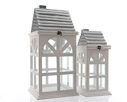 Laterne Laternenhaus Windlicht Kerzenhaus Holz Tannenholz 2er Set