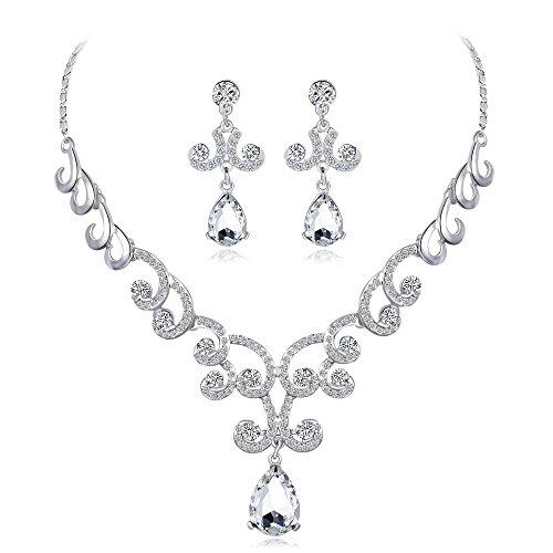 Ecloud Shop Elegant Rhinestone Crystal Wedding Faux Faux Pearls Flower Brooch Pendientes de Collar de la joyería para la Boda