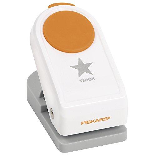 Fiskars Perforadora de Figuras, Estrella, Ø 2,5 cm, Para diestros y zurdos, Acero de calidad/Plástico, Blanco/Naranja, Power, M, 1020488