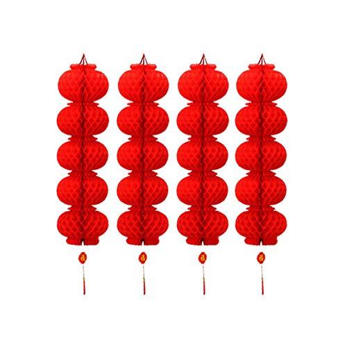 AERVEAL 4 cuerdas, 20 piezas, farolillos rojos de papel, decoración de primavera de año nuevo chino, letra