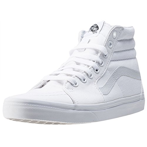 VANS Sk8-Hi Unisex Casual High-Top Skate Shoes, Comfortable and Durable in Signature Waffle Rubber Sole, True White, 12.5 Women/11 Men