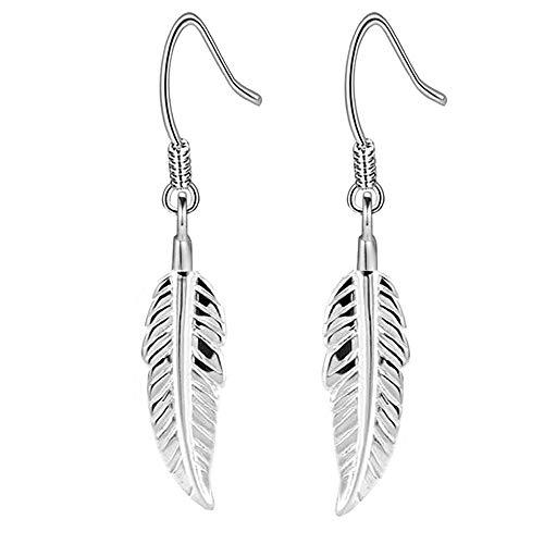 Damen Ohrringe Silber 925 Ohrhänger Feder Ohrringe hängend Schmuck Ohrschmuck Tropfen Ohrringe für Damen