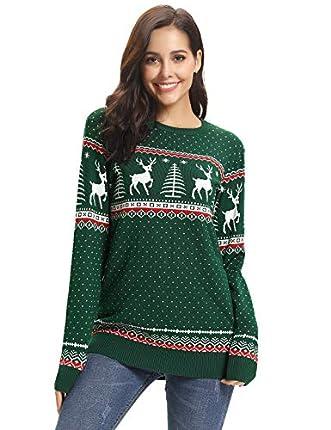 Aibrou Suéter de Navidad para Familia,Jersey Pullover de Punto de Copos de Nieve de Renos,Suéter Unisex de Navidad Invierno,Pareja suéter de Navidad (1# Mamá Verde XXL)