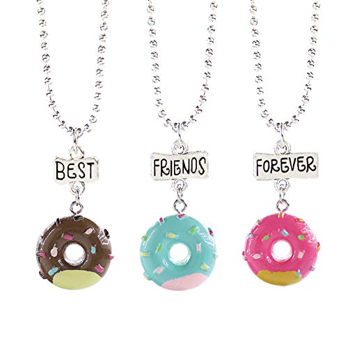 3 Pcs/Set Donut Collar Redondo Helado Colgante Choker para Siempre Collares para Hombres Mujeres