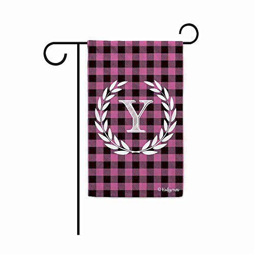 FengLiuAiShuaiGe Lassen Sie Kranz Brief Garten Flagge Buffalo Plaid Check Monogramm O Rosa Und Schwarze Flagge 12,5x18 Zoll Druck Doppelseitig-51-Largehouseflag-28x40inch