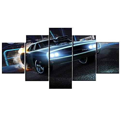 puissant MAOYYM1 Affiche d'art sur toile modulaire Type d'affiche Style 5 pièces Dodge Charger Rocket League…