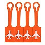 4 Stück Kofferanhänger Silikon- Tags mit Namensschild Adressschild Gepäckanhänger aus Soft Silikon (Orange)