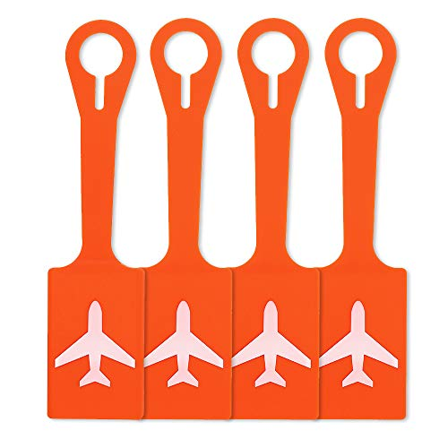 Silicone Luggage Tags with Full Privacy,Personalized Bag Baggage Name ID Initial Label for Kids,Women,Men,Luggage Accessories(Plane Set of 4 Orange)