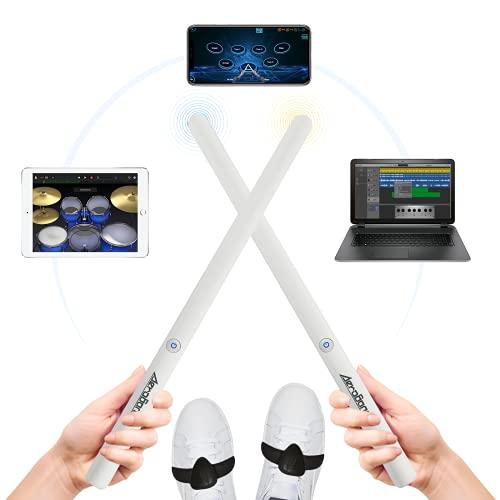 Aire Batería Electrónica, AeroBand PocketDrum2 PD2, Kit de Batería Portátil de 8 Almohadillas con Sensor de 2 Pies/Guitarra de Bolsillo, Compatible con Bluetooth MIDI (Blanco)