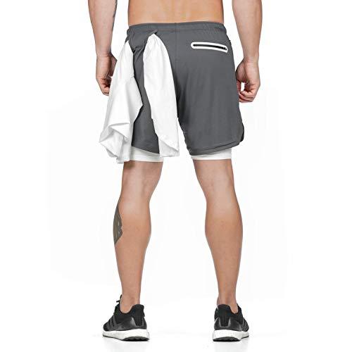 Pantaloncini Dritti in Rete ad Asciugatura Rapida con Cuciture da Uomo Esercizio di Moda in Esecuzione Pantaloncini Sportivi Casual di Base Larghi con Coulisse XXL