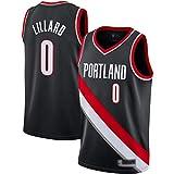 Lajx Camisetas de baloncesto para hombre, camisetas sin mangas Lillard de malla bordadas de baloncesto # 0, camisetas negras