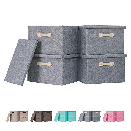 Enzk & Unity - Cestos de almacenamiento decorativos con tapas, tela de lino, caja de almacenamiento plegable con asa, organizador para el hogar, armario, dormitorio, sala de estar, oficina, 4 paquetes, color gris