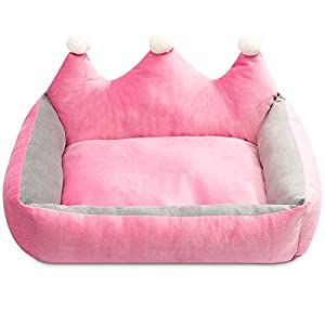 Hollypet Pet Bed for Dog and Cat Rectangle Plush Self-Warming Puppy Sofa Mat Cushion, Pink Crown