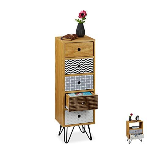 Relaxdays Cajonera Vintage, Mueble Auxiliar Retro para el Salón, Cómoda Recibidor, 90x30x25 cm, DM-Acero-PB, Multicolor, Marrón/Negro
