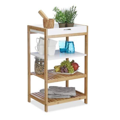 Relaxdays Küchenregal mit abnehmbarem Tablett, aus Bambus, als Badregal freistehend, HBT 70 x 43 x 33 cm, natur, weiß