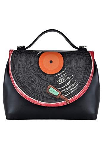 DOGO Damen Handtasche - Umhängetasche - vegan - Handy - Phonograph