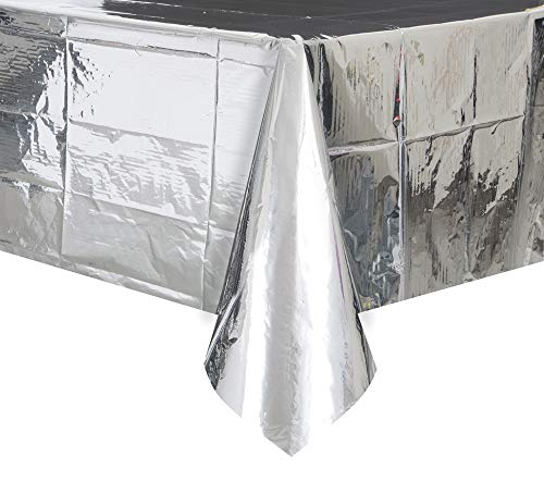 Unique Party Supplies Party 50410 Table Cover, Kunststoff, silber, 9 x 4.5 ft