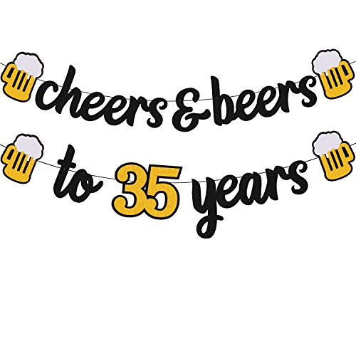 Cheers 35 Years Banner 35th Birthday Decorations for Men Women Him Her 35s Happy Birthday Theme Wedding Anniversary Party Supplies Black Sparkle Decorations Pre-Strung