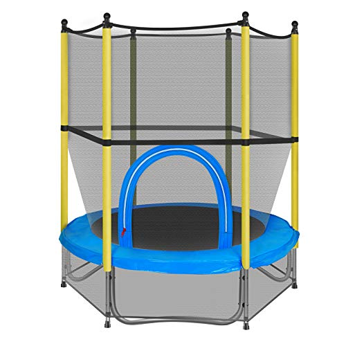 55' Kids Trampolines, Mini Trampoline for Children with Enclosure Net and Safety Pad, Round Trampoline with Built-in Zipper, Recreational Trampoline for Toddlers with Elastic Ropes