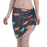 FXSHUNONE Women Beach Sarongs Sheer Cover Ups, Colorful Fish Chiffon Bikini Wrap Skirt for Swimwear Black