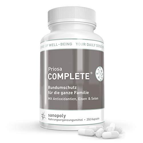 SANOPOLY Priosa® COMPLETE 250 Kapseln I Für geistiges + körperliches Wohlbefinden & Anti-Stress I Premium Vitalstoffmix vegan I 42 Pflanzenextrakten, 16 Aminosäuren, 13 Mineralien & 13 Vitaminen