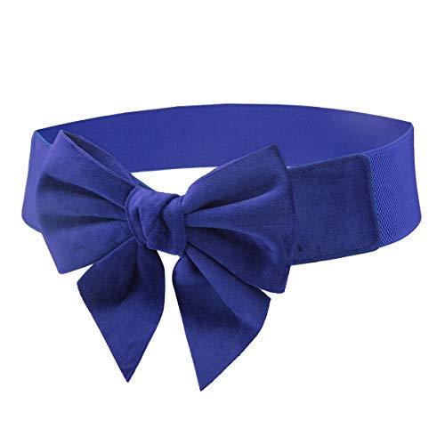 moonsix Women's Elastic Wide Waist Belt Casual Bowknot Dress Cinch Belts, Royal Blue