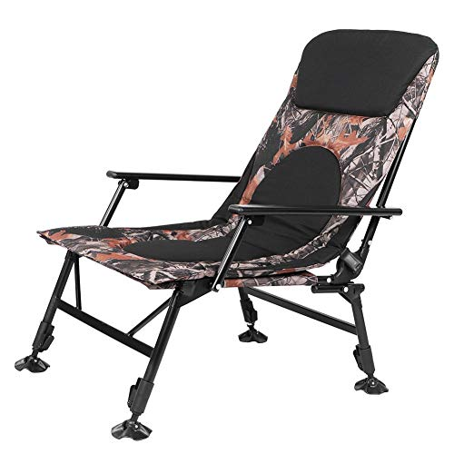 Photo of Camping Chair Folding Reclining Portable Fishing Chair Armchair Outdoor Lounge Sun Lounger Compact Lightweight Chair Steel Structure Heavy Duty Camp Chair with Arm Rest for Garden RV Travel BBQ Beach