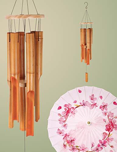 "Afirst 35"" Wood Outdoor Bamboo Wind Chimes with 6 Tube for Patio Garden Decoration"