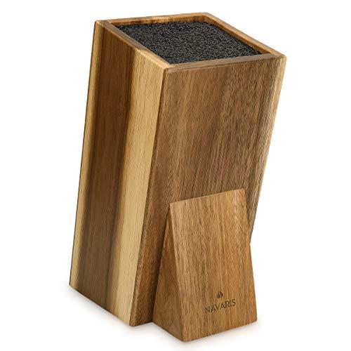 Navaris Soporte con cerdas para cuchillos - Bloque de acacia para utensilios de cocina - Base universal de madera para almacenaje de cuchillos