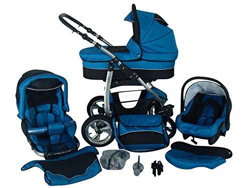 Cochecito de bebe 3 en 1 2 en 1 Trio Isofix silla de paseo D-Deluxe by SaintBaby azul & negro 2in1 sin Silla de coche