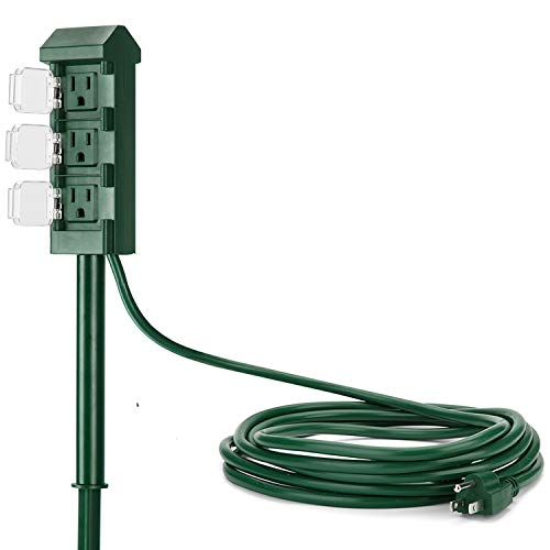 BESTTEN Outdoor Power Strip with 12-Foot Long Extension Cord, 3-Outlet Yard Power Stake with Weatherproof Protective Covers, ETL Certified, Green