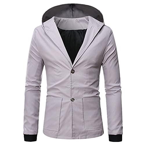 Chaqueta con capucha de color sólido masculino de la chaqueta de los hombres del rompevientos, gris, XXXXL