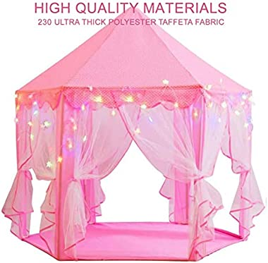 """Princess Castle Playhouse Tent for Girls with 10 ft. LED Star Lights and 18 Pieces Hair Clips - Large 55"""" x 53"""" Kids Play Ten"""