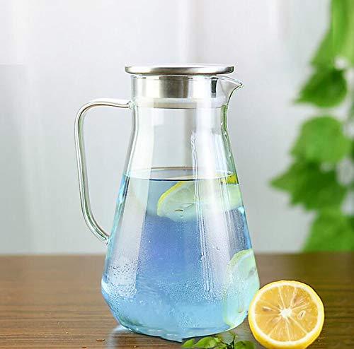 Zfggd Verre à eau de refroidissement à haute température domestique de grande capacité tasse résistant à la chaleur du jus anti-déflagrant froid une bouteille d'eau froide théière blanche (1.6L à 2.6L