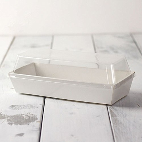 BBJ Sandwich Craft Paper Box With Clear Lids 20 Sets (White)