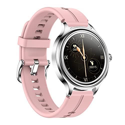 QFSLR Smartwatch, Reloj Inteligente Mujer Hombre, con Ciclo Menstrual Femenino Monitor De Frecuencia Cardíaca Monitoreo De Oxígeno En Sangre IP68 Impermeable Podómetro,Rosado,L