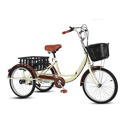OFFA Dreiräder Erwachsene Tricycles 7 Geschwindigkeit, Dreirad Trikes 20 Zoll 3 Rad Bikes, Double Brake, Dreirädrige Fahrräder Tricycle Mit Einkaufskorb for Senioren, Frauen, Männer Lastenfahrrad