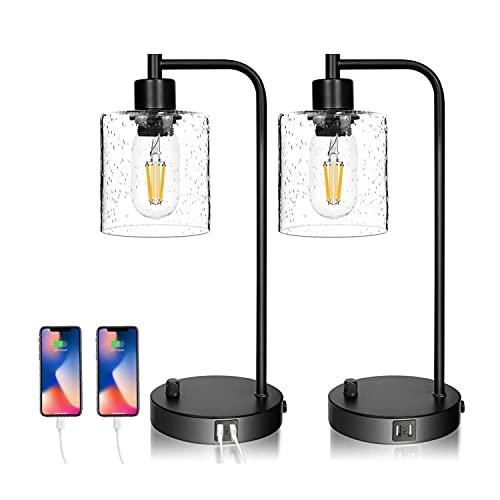 Juego de 2 lámparas de mesa industriales con puerto USB, totalmente regulables para...