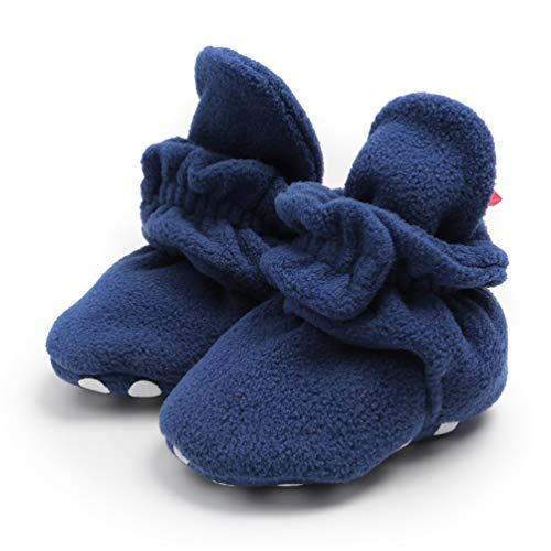 EDOTON Säugling Jungs Mädchen Warm Hausschuhe,Winter Weiß Süß Weich Baumwolle Unisex Rutsch-fest Baby Schuhe zum Weihnachten Zuerst Geburtstag Geschenk (0-6 Monate, R_ Dunkelblau)