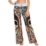 Pantalones de Pijama de Pierna Ancha elásticos para Mujer Pantalones de salón cómodos XL Bandera de Estados Unidos y Calavera