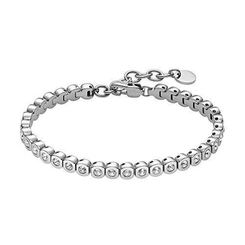 Heideman Armband Damen Amilla II aus Edelstahl Silber farbend matt poliert Tennisarmband mit Zirkonia Steinen Weiss mit Verlängerung Armkette Frauen