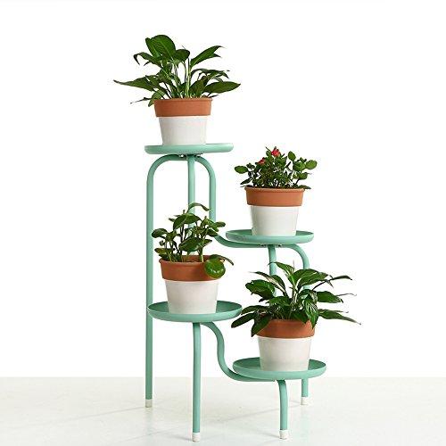 QFF Fer à repasser créatif à l'échelle européenne, étagère à fleurs à plusieurs étages, balcon fleur, balcon, salon, étagère, pot de fleurs ( Couleur : Bleu )
