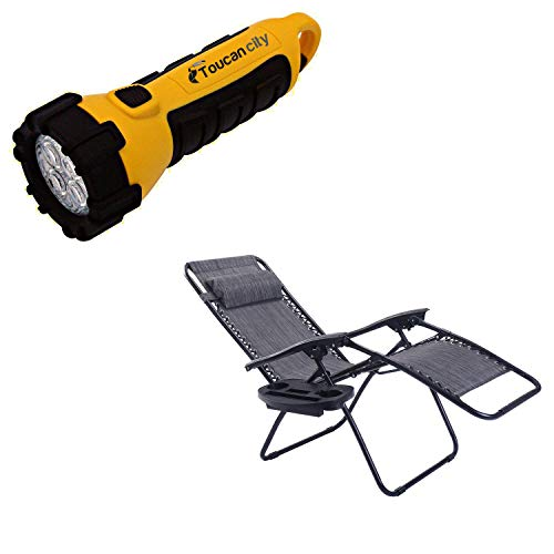 Toucan City LED Flashlight and Goplus Gray Chair without Footrest Zero Gravity Reclining Plastic Outdoor Lounge Chair OP70528GR