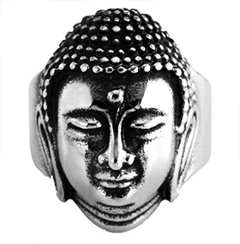 Men's Titanium Steel Buddhist Ring Sakyamuni Buddha Head Ring (Silver, 11)
